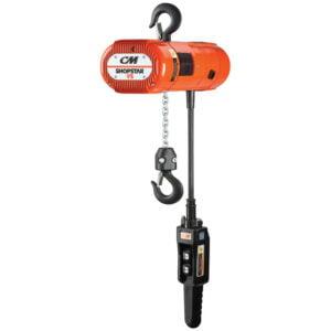 CM Shopstar Electric Chain Hoist with Rigid Hook Suspension